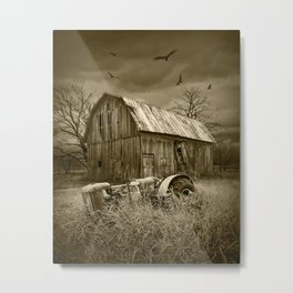 Sepia Toned Image of the Death of a Small Midwest Farm Metal Print