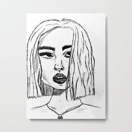 Rough Sketch of the The Girl in Green Metal Print