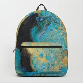 Fluid nature - Golden Sands -  Acrylic Pour Art Backpack