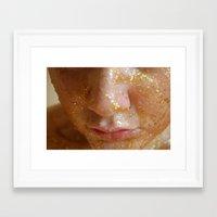 gold glitter Framed Art Prints featuring  Gold Glitter by catlangford