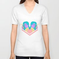 telephone V-neck T-shirts featuring Telephone Baby by bahar sener