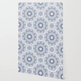 Grayish Blue White Flowers Mandala Wallpaper