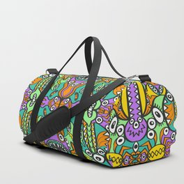 Tropical aquatic creatures in doodle art style forming a colorful pattern design Duffle Bag