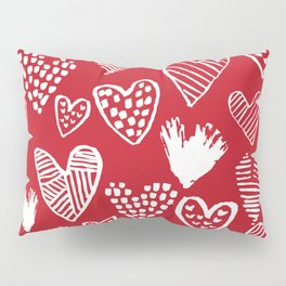 Herats red and white pattern minimal valentines day cute girly gifts hand drawn love patterns Pillow Sham