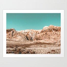 Mojave Red Rocks // Desert Landscape Cactus Mountain Range Teal Blue Skyline Art Print