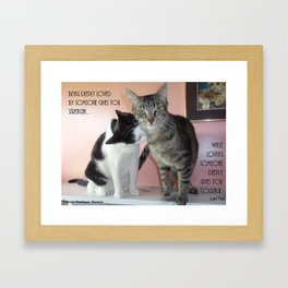 Love Gives Us Strength: Two Cats Framed Art Print