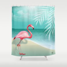 FLAMINGO BEACH | aqua Shower Curtain