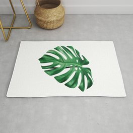Split leaf philodendron leaf isolated on white Rug