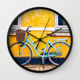 Bike and yellow Wall Clock