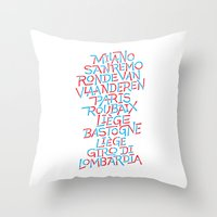 Five Monuments of Cycling Throw Pillow