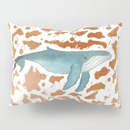 Blue Whale Swimming in Copper Pillow Sham