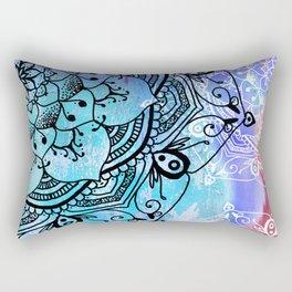 Bohemian Secret Blue & Pink Mandala Design Rectangular Pillow