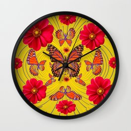 RED FLOWERS MONARCH BUTTERFLY FANTASY ART Wall Clock