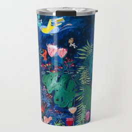 Brightly Rainbow Tropical Jungle Mural with Birds and Tiny Big Cats Travel Mug