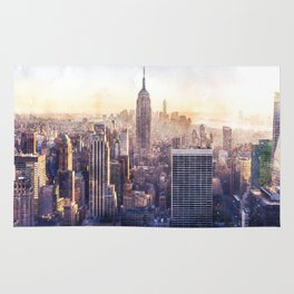 New York City Watercolor Skyline Rug