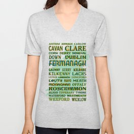 32 Counties Of Ireland Unisex V-Neck