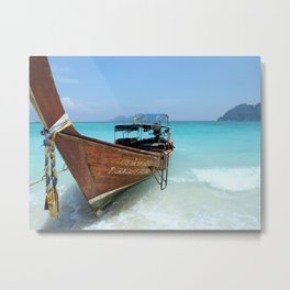 Thailand Tropical Beach with Fishing Boat Metal Print