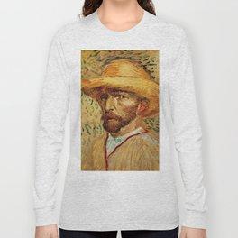 Van Gogh, Self-Portrait with Straw Hat, – Van Gogh,Vincent Van Gogh,impressionist,post-impressionism Long Sleeve T-shirt