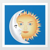 sun and moon Art Prints featuring Moon & Sun by Ali Drenner