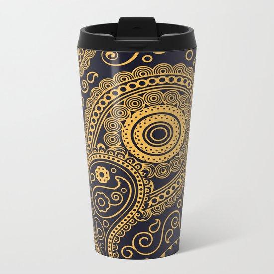 Vintage Pattern Gold Metal Travel Mug