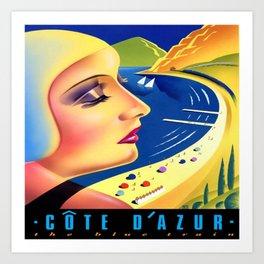 Cote d'Azur Blue Train Art Print