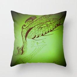 Encre sur une danse d'éventail Throw Pillow
