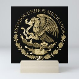 Mexican flag seal in sepia tones on black bg Mini Art Print