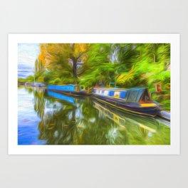 Narrow Boat Touch Of Art Art Print