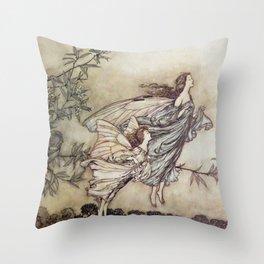 """""""Fairies Tiff with the Birds"""" by Arthur Rackham Throw Pillow"""