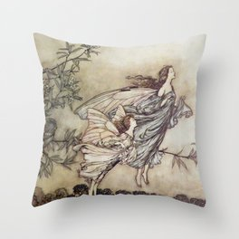 """Fairies Tiff with the Birds"" by Arthur Rackham Throw Pillow"