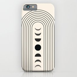 Geometric Lines in Black and Beige 13 (Rainbow and Moon Phases) iPhone Case