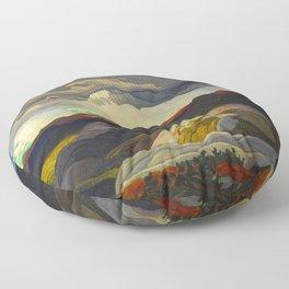 Canadian Landscape Oil Painting Franklin Carmichael Art Nouveau Post-Impressionism Snow Clouds Floor Pillow