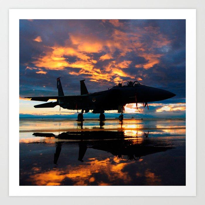 Fighter Jet Airplane at Sunset Military Gifts Kunstdrucke