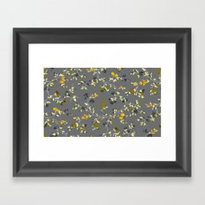 floral vines - greys, mustards & greens Framed Art Print