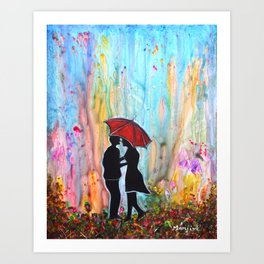 A Rainy Date romantic painting giftart Art Print