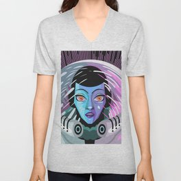 astronaut woman face in space suit in black hole Unisex V-Neck