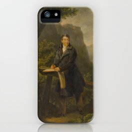 ATTRIBUTED TO FREUDWEILER, HEINRICH (1755 Zurich 1795) Portrait of a draughtsman in a mountain lands iPhone Case