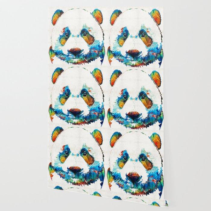 colorful panda bear art by sharon cummings wallpaper by