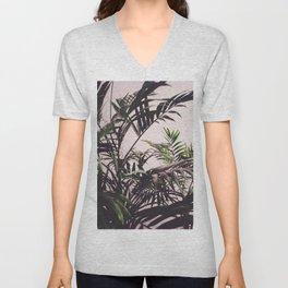 Green palm trees leaves Unisex V-Neck