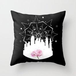 New York Cherry Blossoms Throw Pillow