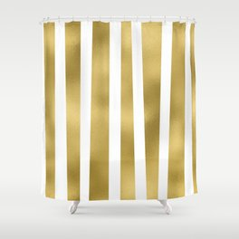 Gold unequal stripes on clear white - vertical pattern Shower Curtain