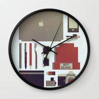 8bit Wall Clocks featuring 8Bit Handbag by Thecansone