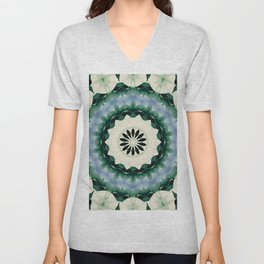 Cerulean Blue and Sacramento Green Mandala Unisex V-Neck
