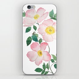 pink rosa rubiginosa watercolor iPhone Skin