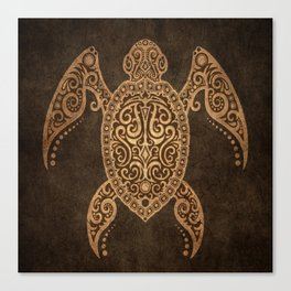 Intricate Vintage and Cracked Sea Turtle Canvas Print