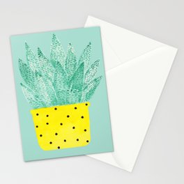 Succulent in Yellow Pot - II Stationery Cards