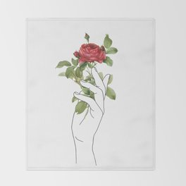 Flower in the Hand Throw Blanket