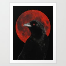 Crow And The Red Glow Moon Art Print