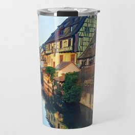 Colorful romantic city Colmar, France, Alsace. Traditional house Travel Mug