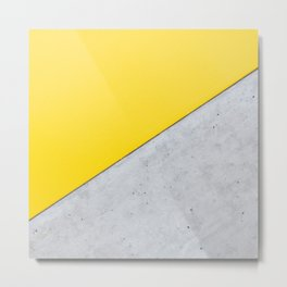 Yellow & Gray Abstract Background Metal Print